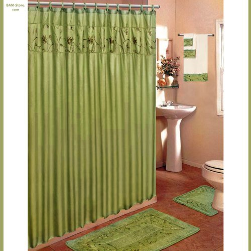 Olive Green 18 Piece Bathroom Set 2 Rugs Mats 1 Fabric Shower Curtain 12 Fabric Covered Rings