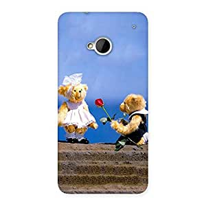 Delighted Proposal Teddy Multicolor Back Case Cover for HTC One M7