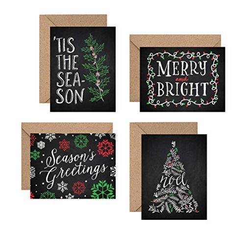 Chalk Art Christmas Cards Set