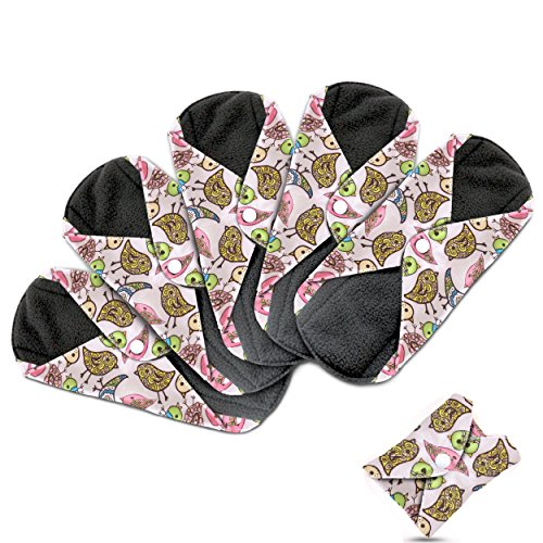 Dutchess Cloth Menstrual Pads - Bamboo Reusable Sanitary Napkins - Perfect for HEAVY Flow or OVERNIGHT - 5 Pack Set - With Double Layered Charcoal Absorbency Layer to Avoid Leaks, Odors and ... (Perfect Cloth compare prices)