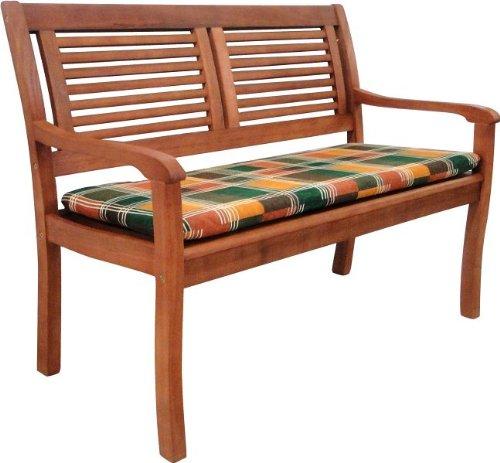 Gartenbank Paolo aus Eukalyptus Holz 2-Sitzer mit Bankauflage