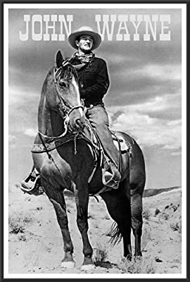 John Wayne (On Horse) Movie 24x36 Wood Framed Poster Art Print