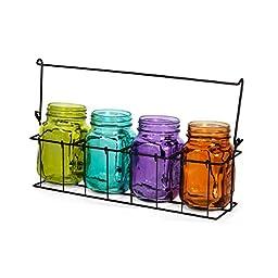 Pfaltzgraff Mason Jar Tealight Holder in Metal Caddy (15-Inch, Multicolor)