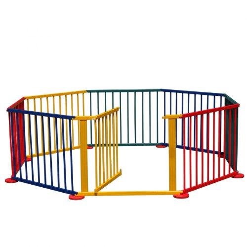 BABY VIVO LARGE 8 SIDE WOODEN BABY PLAYPEN FOLDABLE WITH DOOR NEW MULTICOLOR