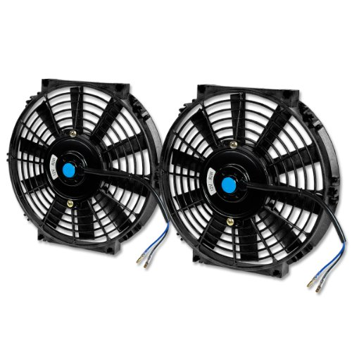 Auto Dynasty 10 Inch High Performance Black Electric Automotive Cooling Fan Assembly Kit Set of 2