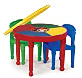 Tot Tutors CT599 2-in-1 Round Plastic Construction Table and 2 Chairs, Primary Colors