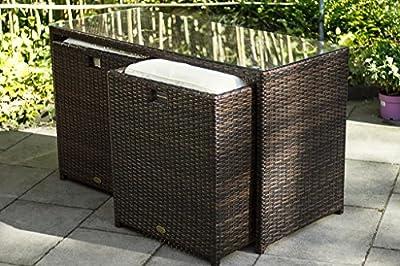 essella Polyrattan Essgruppe Vienna 2er in Bicolor-Braun mit extra starkem 1,4mm Geflecht von TOO-Design GmbH auf Gartenmöbel von Du und Dein Garten