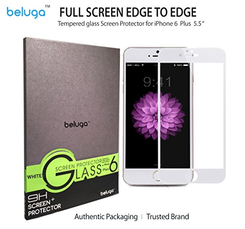 Apple iPhone 6S/6 Plus, 5.5 inch Only *New Full Screen Design* Covering Edge to Edge, 100% Screen Area Covered [White Edge] Full Screen Tempered Glass Screen Protector by BELUGA® - Protect Your Screen from Scratches and Drops - Maximize Your Resale Value - 99.99% Clarity and Touchscreen Accuracy- 0.3mm - 2.5D Rounded Polished Edges [Protective Back Film for a Front and Back Protection] [White Edge]