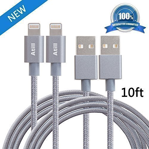 Check Out This Atill 2 Pack 10FT Nylon Braided Lightning USB Charging Cable Extra Long Cord for iPho...