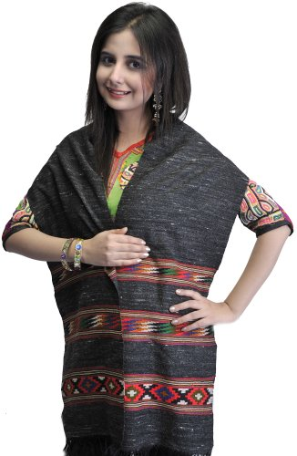Exotic India Black Kullu Scarf with Kinnauri Woven Border – Black