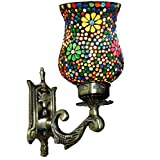 Handicraft KottageWeldecor Antiqua Brasso Polka Dots Era Wall Lamp (30 Cm, Multicolor)