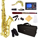 Mendini by Cecilio MTS-L+92D Gold Lacquer B Flat Tenor Saxophone with Tuner, Case, Mouthpiece, 10 Reeds and More (Color: Gold)