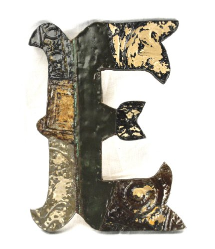 ZENTIQUE Medieval Patched Metal Letter, Small, Monogrammed E