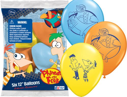 "Phineas and Ferb Party Supplies 12"" Latex Balloons - 6 Each"