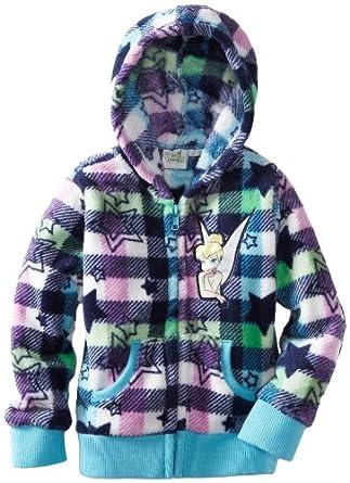 Disney Little Girls' Tinkerbell Printed Fleece Hoodie, Blue - Medium, 6X