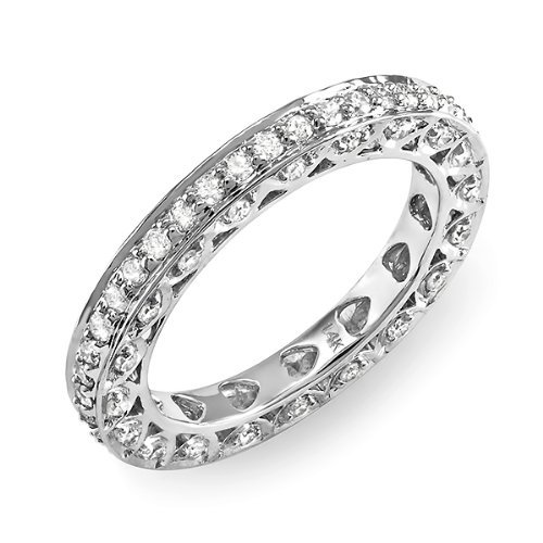 1.00 Carat (ctw) 14k White Gold Round Diamond Ladies Eternity Anniversary Wedding Band Stackable Ring
