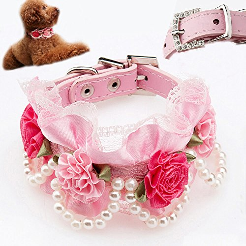 Bro'Bear PU Leather Adjustable Beaded Pet Necklace Dog Puppy & Cat Kitty Buckle Collar with 4 Strings of Pearls, Lace, Rhinestone & 4 Flowers for Small Animals Everyday Walking/Party/Holiday/Wedding/Birthday Accessories (Pink, Medium)