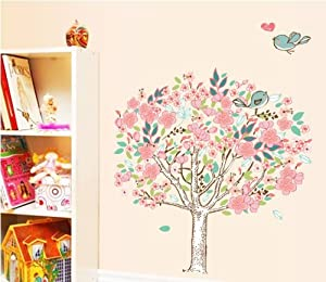 OneHouse Tree with Blooming Flowers and Love Birds Wall Decal Tree Mural Sticker by OneHouse