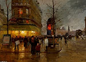 Poster Giclee Print on canvas - 12 x 9 inches / 30 x 23 CM - Edouard Cortes - La Place de la Bastille, Paris