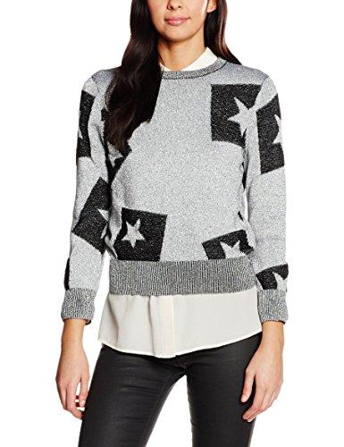Cheap Monday Tips Knit Cut Star, Felpa Donna, Silver (Silver), 38 (Taglia Produttore:X-S)