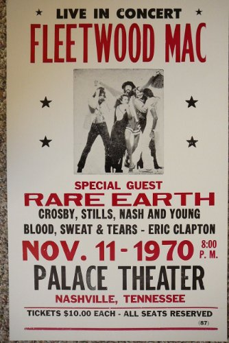 Fleetwood Mack, Rare Earth, Crosby ,Stills, Nash and Young, Blood Sweat and Tears and Eric Clapton Poster (Fleetwood Mack Poster compare prices)