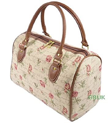 Tapestry Weekend Holdall/Hand Luggage/Travel Bag (medium) Pink Rose - Gobelin Style