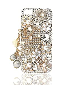 NOVA CASE ® Glamour Series 3D Bling Crystal iPhone Case for iPhone 5 - Floral Coco Bag (Package includes: soft pouch, screen protector, extra crystals)