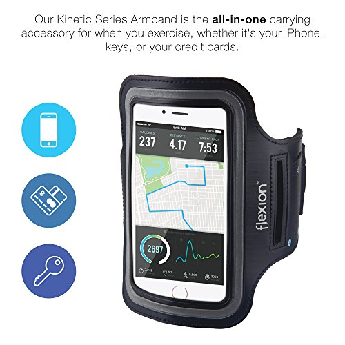 Flexion™ Sport Exercise Armband [Kinetic Series] With Key Holder for Apple iPhone 6 (4.7) - Touchscreen Compatible Clear Cover And Machine Washable (Black) toshiba armband and sport case for gigabeat u series black