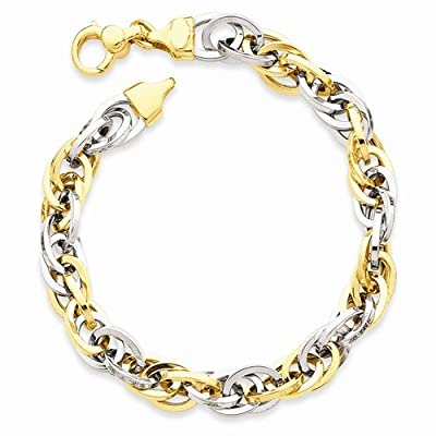 Solid 14k Two Tone Fancy Unique Bracelet - with Secure Lobster Lock Clasp 7.5""