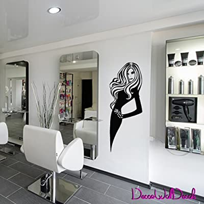 Wall Decal Decor Decals Art Hair Hairstyle Salon Beauty Master Work Stylist Girl Woman (M934)