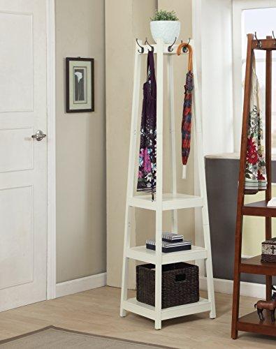 Roundhill Furniture Vassen Coat Rack with 3-Tier Storage Shelves, white Finish (Corner Coat Rack compare prices)