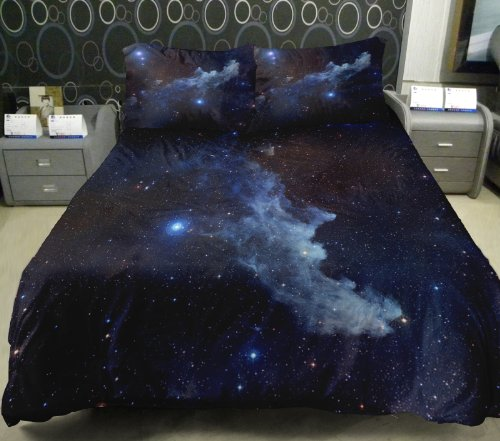 Anlye Galaxy Quilt Cover Galaxy Duvet Cover Galaxy Sheets Space Sheets Outer Space Bedding Set With 2 Matching Pillow Covers (Queen) front-441562