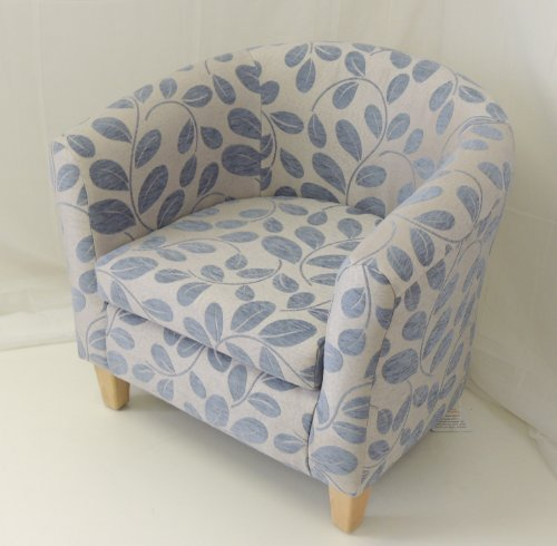 LIMITED EDITION WEDGEWOOD BLUE ORCHARD LEAF TUB CHAIR WITH BEECH LEGS