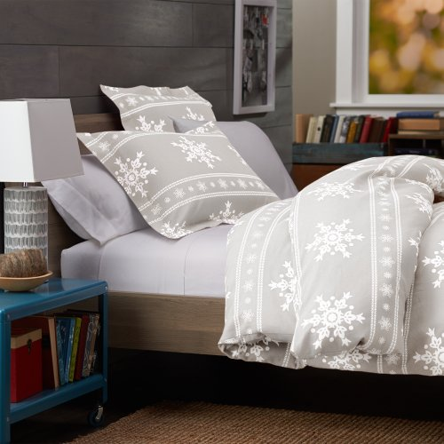 Fantastic Deal! Pinzon 160-Gram Printed 100-Percent Cotton Flannel Duvet Cover, Twin, Snowflake Gray