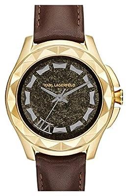 Karl Lagerfeld KL1038 Brown Leather Gold Bezel Men's Watch