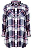 Plus Size Womens Blue And Pink Checked Boyfriend Shirt With Pockets