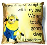 On Date Minion Printed Microfiber Filled Pillow Size 13x13 Inch