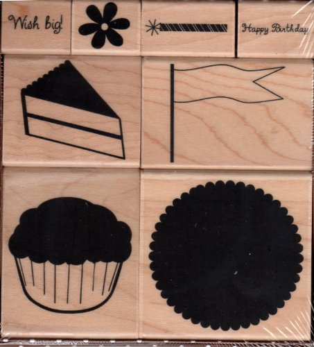 Birthday Cupcake Wood Mounted Rubber Stamp Set (10107W)