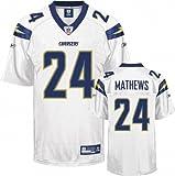 Ryan Mathews Jersey: Reebok White #24 San Diego Chargers Replica Jersey