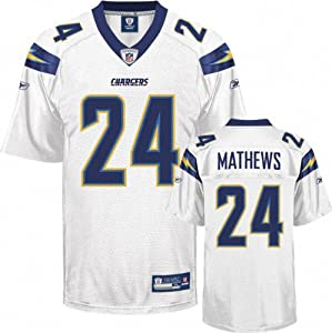 Ryan Mathews Jersey: Reebok White #24 San Diego Chargers Replica Jersey by Reebok