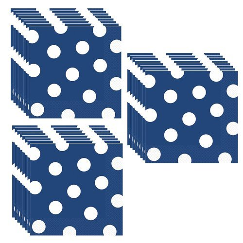 Royal Blue Polka Dots Party Beverage Napkins - 48 Pieces
