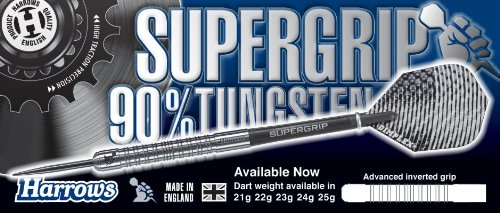 HARROWS Supergrip Tungsteno 90% Freccette Punta Acciaio, 25g