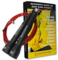 Best Crossfit Jump Rope: Extra-Long Ten Foot Speed Cable For Champion Fitness Workout. Adjustable Length Fits Kids and Adult Women & Men. Ball Bearing Handles Enable Ultra-Fast Spinning. Red With Black Handles. Use For Weight Loss & Sports Training. Jump Rope Exercise Book Included.