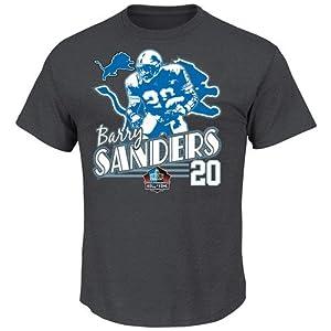 Barry Sanders Detroit Lions Majestic HOF Retro Action T-Shirt by Majestic