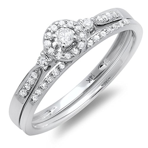 0.58 Carat Halo Engagement Ring Sets Round cut Diamond on 18K White gold
