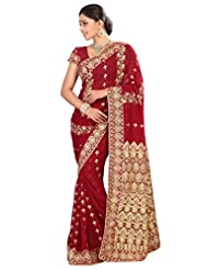Designer Entrancing Maroon Colored Embroidered Faux Georgette Saree By Triveni