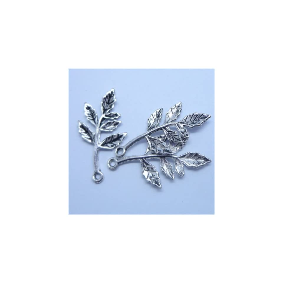 Tibetan silver Branch Leaf Charm Pendant Beads Findings 10Pcs (15mm x 30mm)