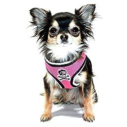 Hip Doggie Pink Skull Mesh Harness Vest, XX-Large