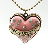 DaisyJewel Locket Necklace: Cake Heart / Cupcake Heart Beautiful Crystal Encrusted Pink High Quality Pendant Locket with Magnetic Closure & Secret Sparkly Mini Diamond Ring - Accented by a Bronzed Golden Love Sashay on 30 to 33 in. Adjustable Ball Chain with Pave Crystal Encrusted Arrow