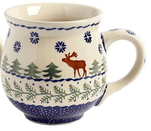winter-moose-handmade-barrel-mug-manufaktura-w-boleslawiec-genuine-hand-painted-polish-pottery-16-oz
